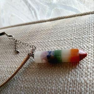 Chakra Pendant on Teal Leather Cord